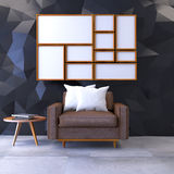 Modern loft interior with Mock up poster  ,living room, Brown leather armchair with wood coffee table on concrete f. Loor and polygonal black wall ,3d render Stock Images