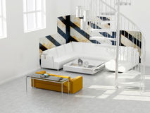 Interior design of modern loft. Royalty Free Stock Image
