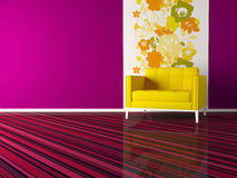 Interior design of modern pink living room stock illustration