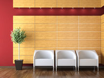 Interior design of modern reception. With three armchairs on a wood clad wall and plant Royalty Free Stock Images