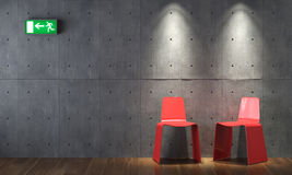 Interior design modern red cahirs on concrete wall. Modern interior design of two red chairs on concrete wall with emergency exit sign vector illustration