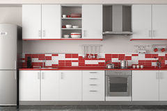 Interior design of modern red kitchen royalty free illustration
