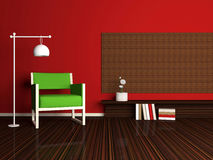 Interior design of modern red living room Stock Image