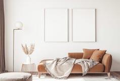 Interior design of modern Scandinavian apartment, living room in neutral colors,