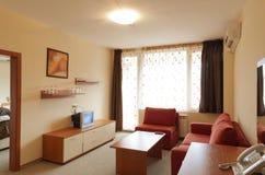 Interior Design: modern small hotel room with tv Stock Photos