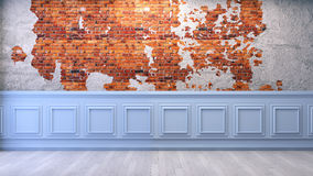 Modern vintage  ,living room,blue frame wall and red brick wall  , 3d render Stock Photography