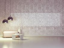 Interior design of modern violet lounge. Royalty Free Stock Photography