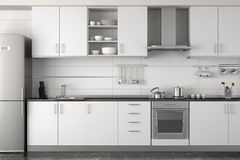 Interior design of modern white kitchen stock illustration