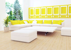 Interior design of modern white living room Stock Photos