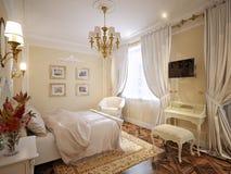 Interior design moderno classico di lusso della camera da letto Fotografia Stock