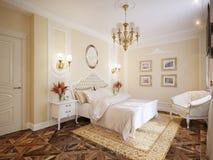 Interior design moderno classico di lusso della camera da letto Immagine Stock Libera da Diritti