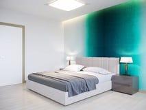 Interior design moderno contemporaneo urbano della camera da letto Immagine Stock Libera da Diritti
