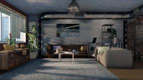Interior design moderno 3D del salone di stile del sottotetto Fotografia Stock