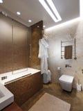 Interior design moderno del bagno con Brown e le mattonelle di marmo beige Immagine Stock Libera da Diritti
