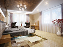 Interior design moderno della camera da letto con i motivi giapponesi Immagine Stock