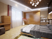 Interior design moderno della camera da letto con i motivi giapponesi Fotografia Stock Libera da Diritti