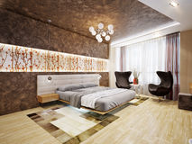 Interior design moderno della camera da letto con i motivi giapponesi Immagine Stock Libera da Diritti
