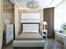 Interior design moderno della camera da letto con mobilia bianca Fotografia Stock