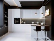 Interior design moderno della cucina di contrasto bianco Fotografia Stock