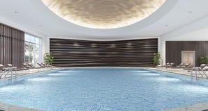 Interior design moderno della piscina dell'interno Fotografie Stock Libere da Diritti