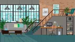 Interior design moderno di un salone o di uno spazio ufficio in uno stile industriale fotografia stock