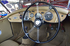 Interior design of Morris Garage old classic sports car in beige colour Royalty Free Stock Photo