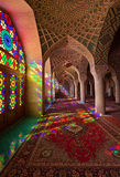 Interior Design of Nasir al-mulk Mosque with Colorful Stained Glass Windows and Ornate Arches Stock Photography