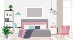 Interior design of a nice bedroom in pastel colors. Vector flat illustration. Vector illustration. Painted in shape stock illustration