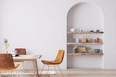 Free Interior Design Of Modern Dining Room With Orange Furniture, Scandinavian Style Stock Photos - 192824673