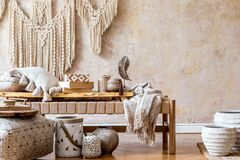 Free Interior Design Of Stylish Living Room With Beige Chaise Longue, Pillows, Lantern, Macrame, Decoration And Accessories. Stock Photos - 186706303