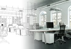 Interior Design Office Drawing Gradation Into Photograph. 3D Illustration stock photography