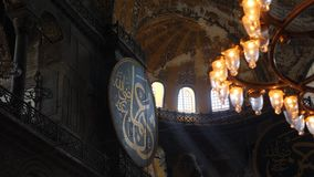 Interior design the interior of the old mosque of Hagia Sophia. Turkey, Istanbul - 5 June 2019: interior design the interior of the old mosque of Hagia Sophia on stock video