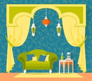 Interior design in Oriental style. Vector. Stock Image