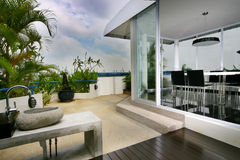 Interior design - outdoor. Dining area with outdoor view Stock Photo