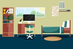 Interior design piano di vettore di singola camera da letto royalty illustrazione gratis