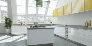 Interior design piano luminoso moderno con gli accenti gialli Fotografie Stock Libere da Diritti