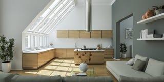 Interior design piano luminoso moderno con gli accenti grigi Fotografia Stock