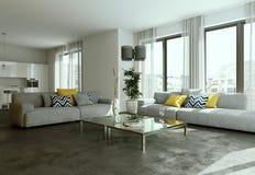 Interior design piano luminoso moderno con i sofà Fotografie Stock Libere da Diritti