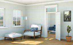 Interior design piano skandinavian luminoso moderno Immagine Stock Libera da Diritti