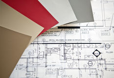 Interior Design Plans. Color swatches and samples on a set of blueprints for interior designers Stock Image