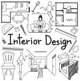 Interior design profession doodle in white paper background Stock Photos