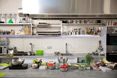 Interior design of professional kitchen stock image