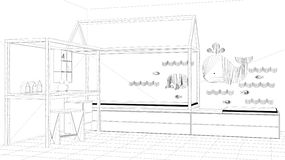 Interior design project, black and white ink sketch, architecture blueprint showing children bedroom with single bed and desk, min. Imalist architecture interior stock illustration