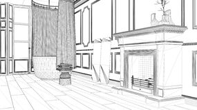Interior design project, black and white ink sketch, architecture blueprint showing classic bathroom with fireplace royalty free illustration