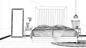 Interior design project, black and white ink sketch, architecture blueprint showing modern bedroom, bed with wooden headboard, min. Imalist architecture interior vector illustration