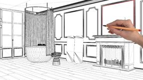 Interior design project concept, hand drawing custom architecture, black and white ink sketch, blueprint showing classic bathroom stock photography