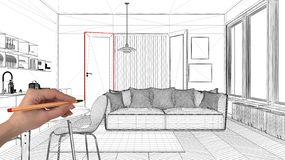 Interior design project concept, hand drawing custom architecture, black and white ink sketch, blueprint showing modern living roo. M with kitchen royalty free illustration