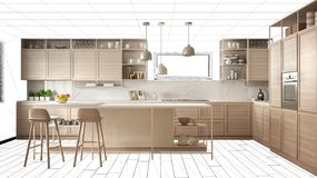 Interior design project draft, work in progress concept idea, real modern white and wooden kitchen in sketched background,. Architect designer project desktop royalty free stock photo
