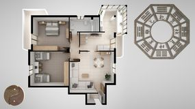 Interior design project with feng shui consultancy, home apartment flat plan, top view with bagua and tao symbol, yin and yang stock illustration