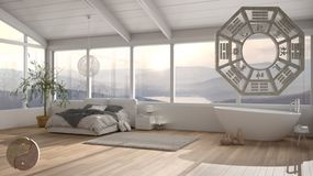 Free Interior Design Project With Feng Shui Consultancy, Bedroom With Bed And Bathtuab, With Bagua And Tao Symbol, Yin And Yang Stock Photography - 163170382